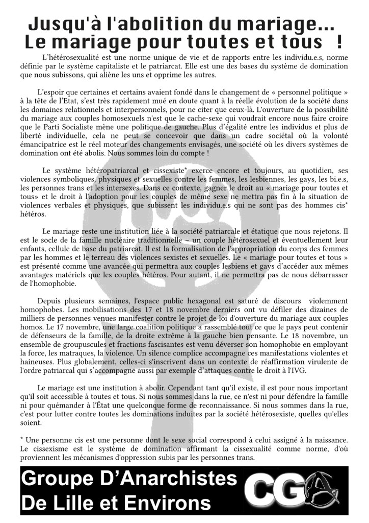 GDALE - Abolition du Mariage